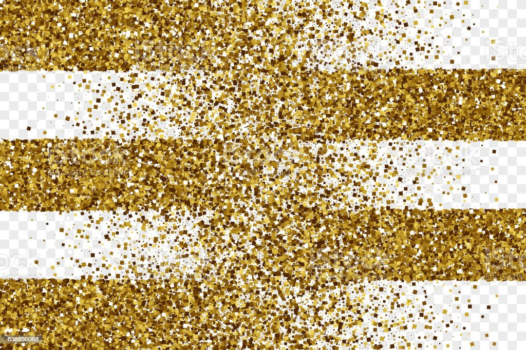 Golden Shiny Tinsel Square Particles Vector Background vector art illustration