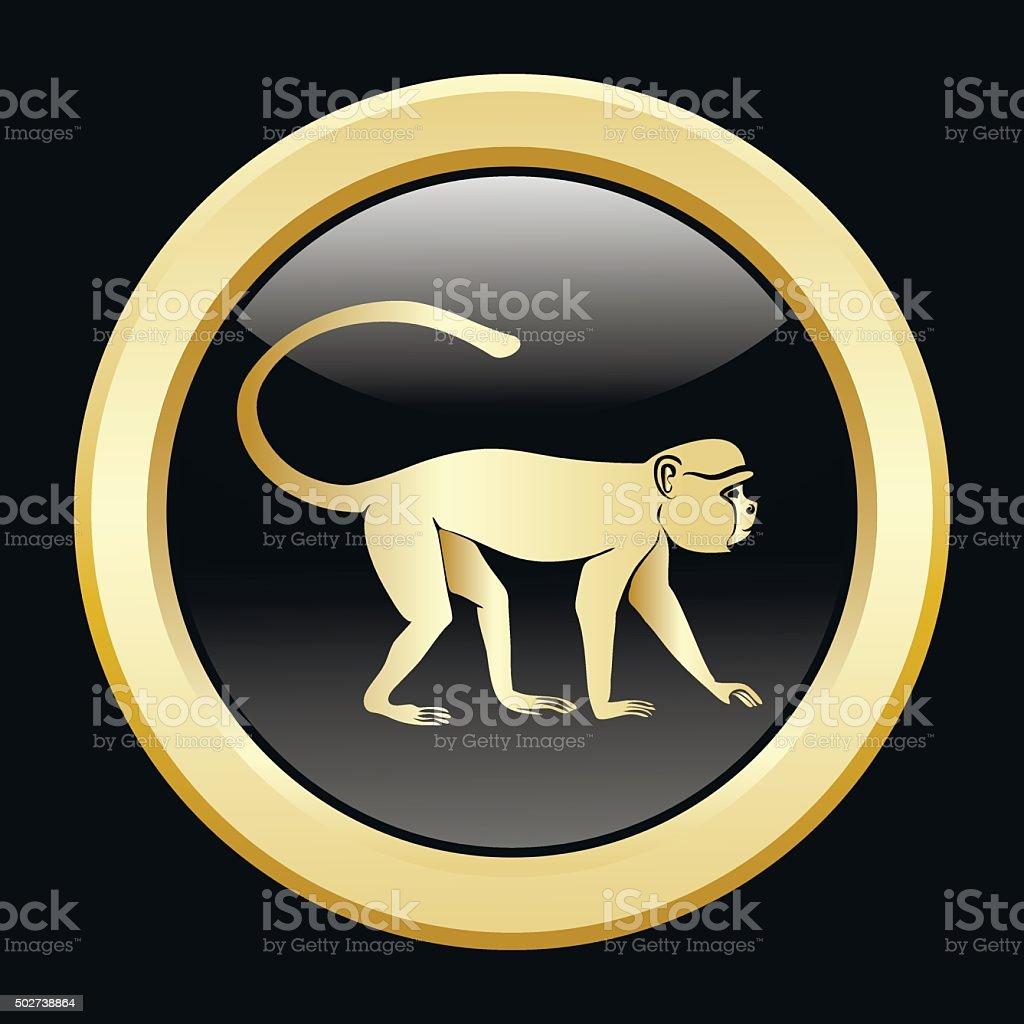 Golden silhouette of  monkey vector art illustration
