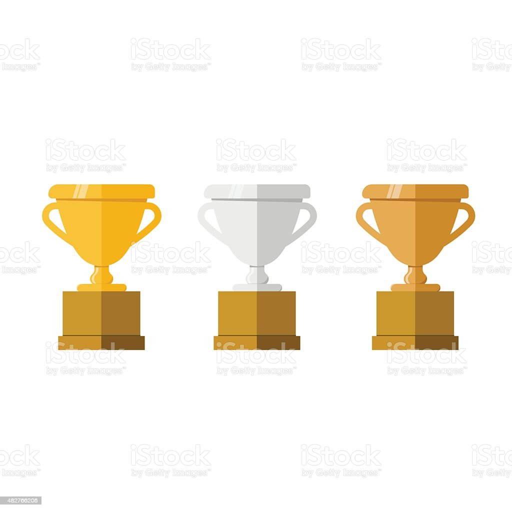Golden, silver and bronze champion cup vector art illustration