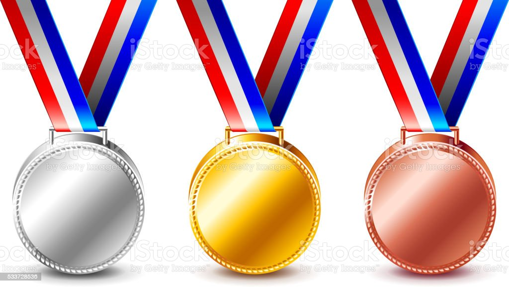 Golden silver and bronze medals isolated vector vector art illustration
