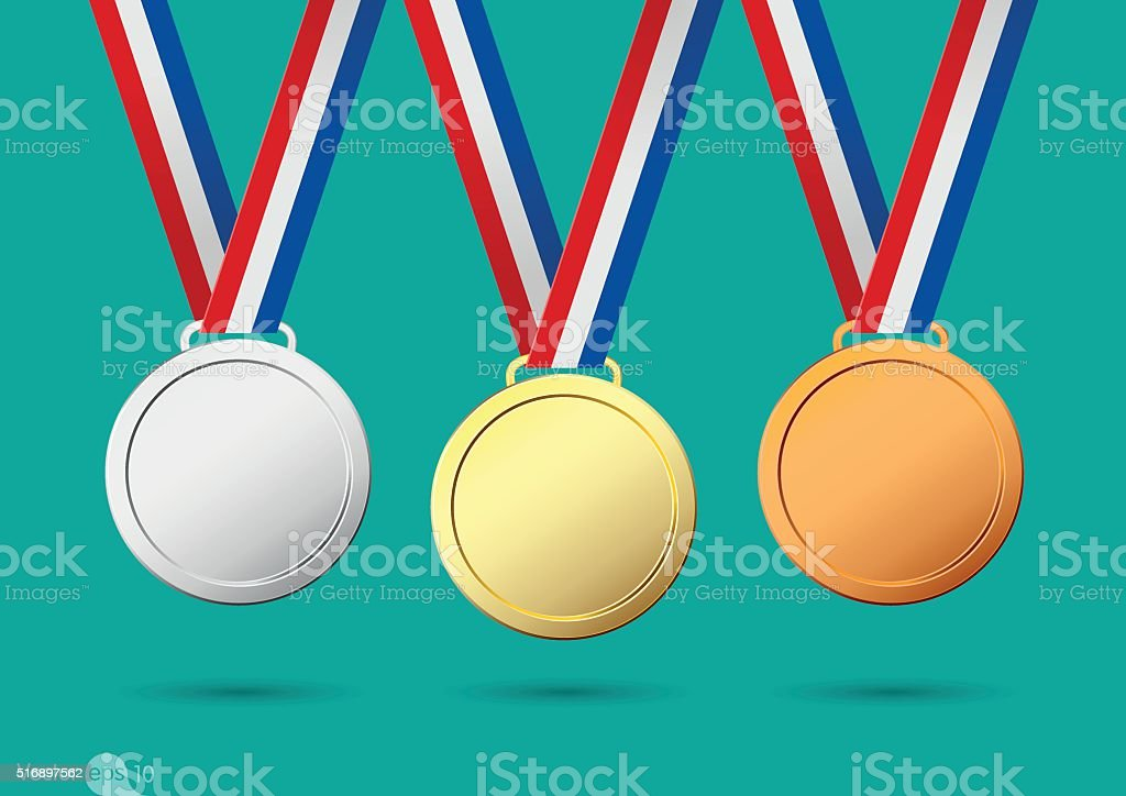 golden, silver and bronze medals vector art illustration