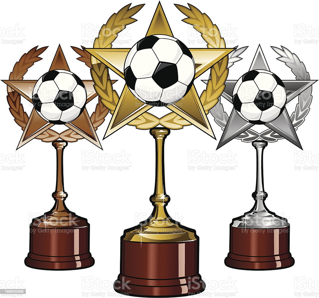 Golden Silver and Bronze Soccer Trophies royalty-free stock vector art