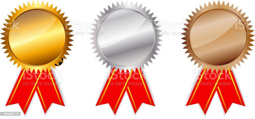 Golden, silver, bronze awards. Vector illustration. royalty-free stock vector art