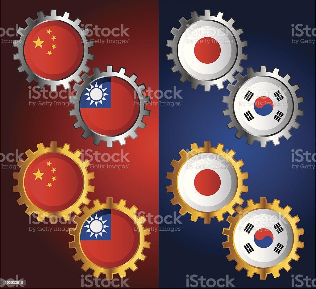 Golden & Silver Gear with National Flag vector art illustration