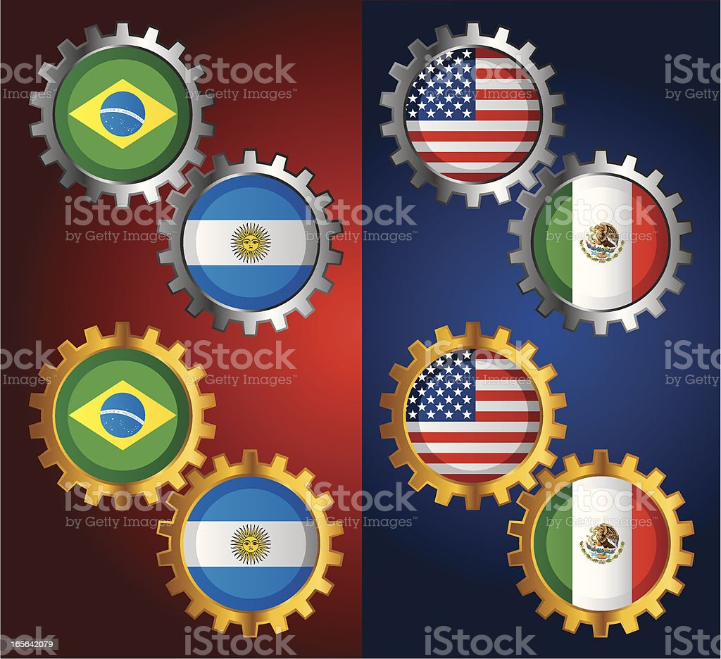 Golden & Silver Gear with National Flag royalty-free stock vector art