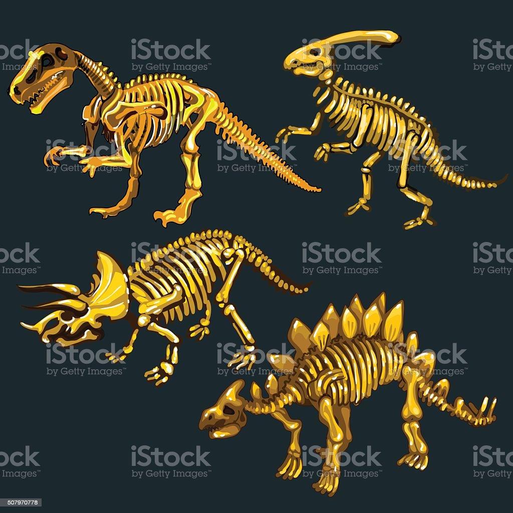 Golden skeletons of four different dinosaurs vector art illustration