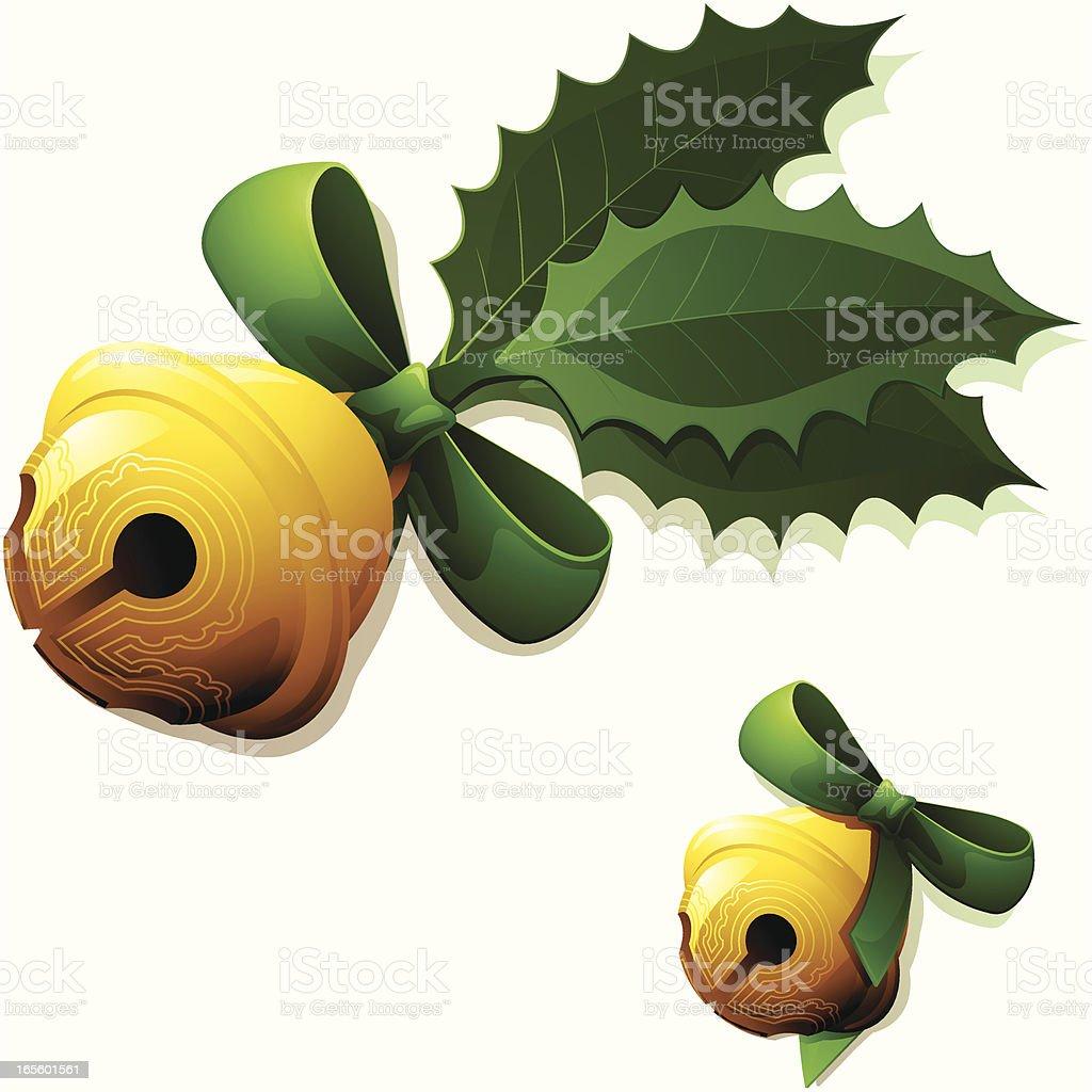 Golden Sleigh Bells vector art illustration