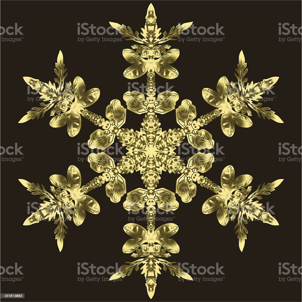 Golden Snowflake On A Dark Background royalty-free stock vector art