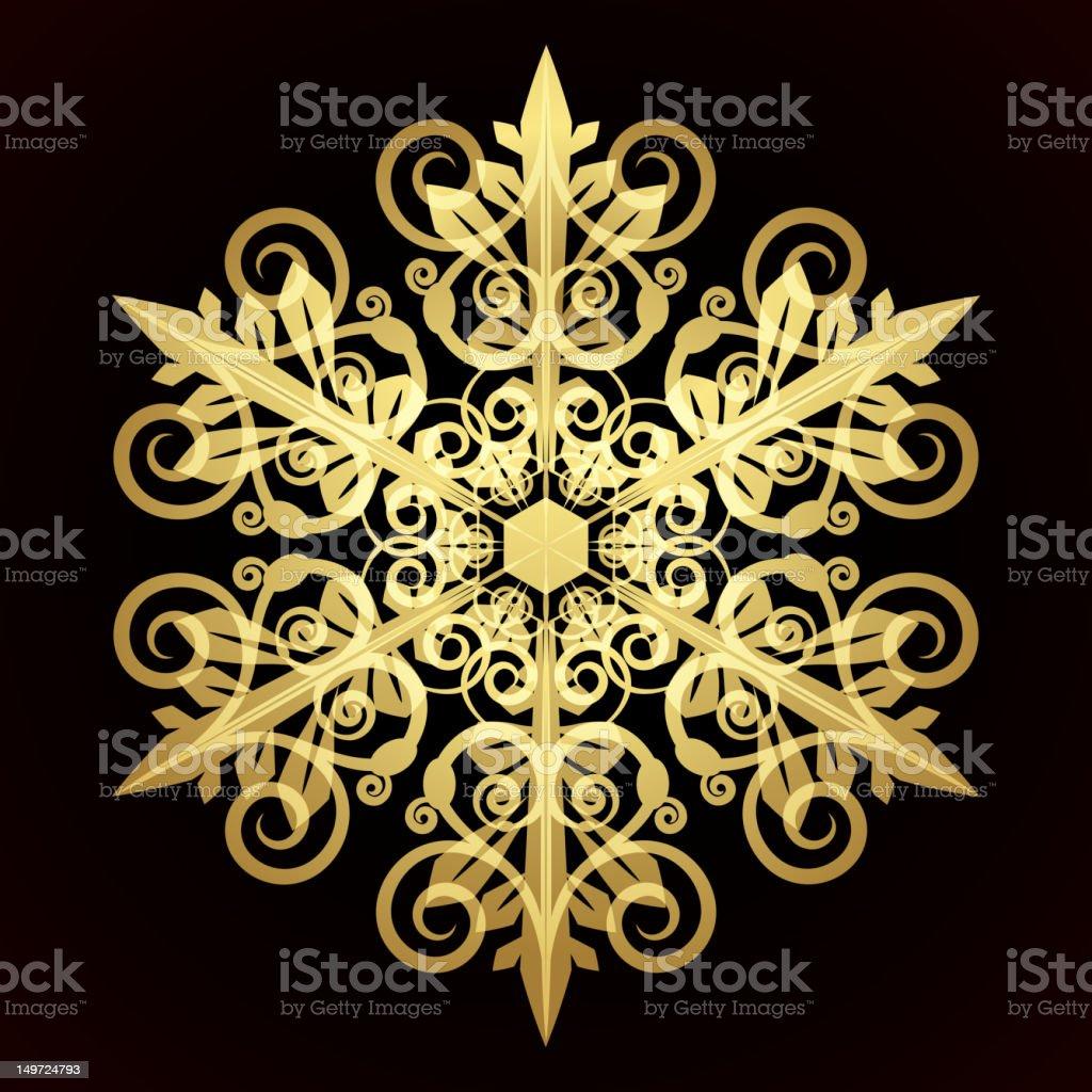 Golden snowflake royalty-free stock vector art