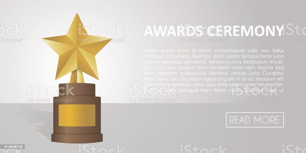 Golden star award on brown base. Gold Trophy vector banner illustration vector art illustration