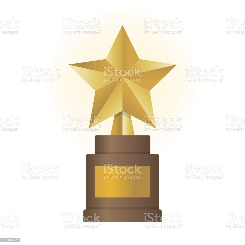 Golden star award on brown base. Gold Trophy vector illustration vector art illustration