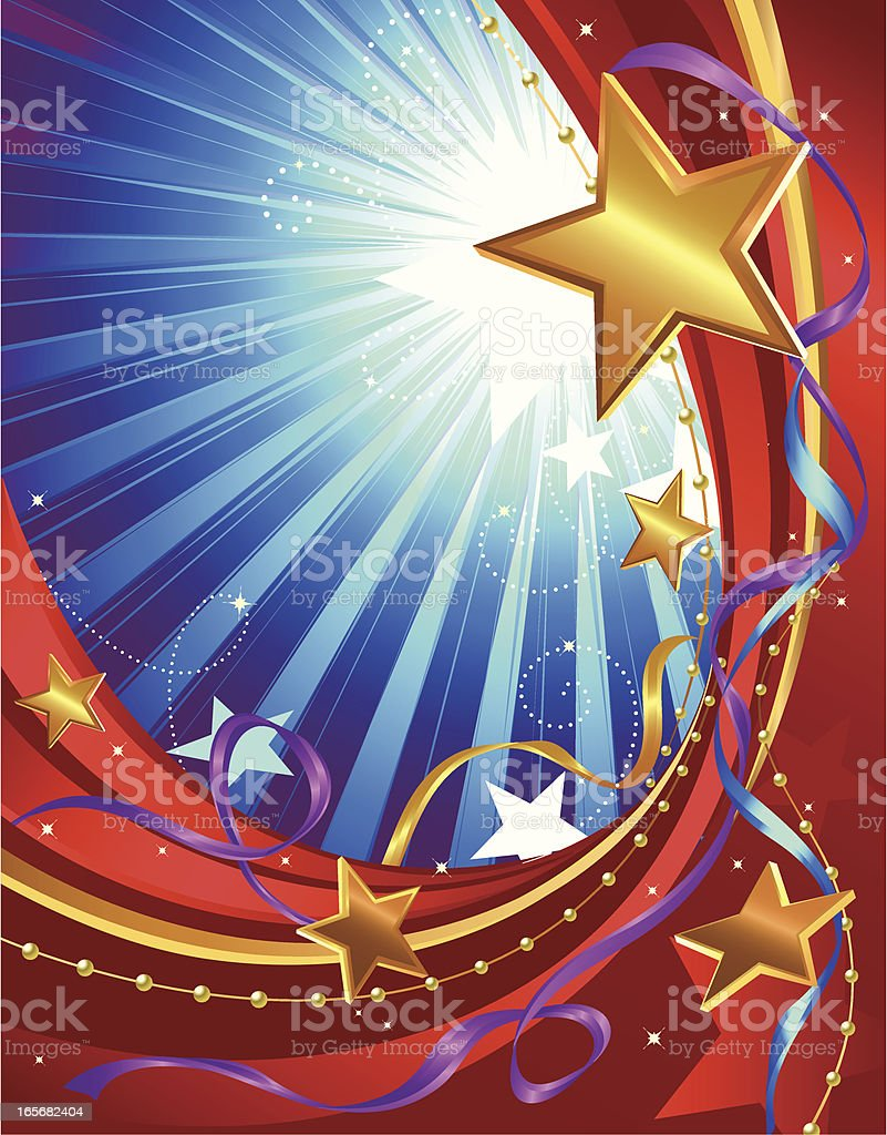 A golden star design with blue stripes royalty-free stock vector art