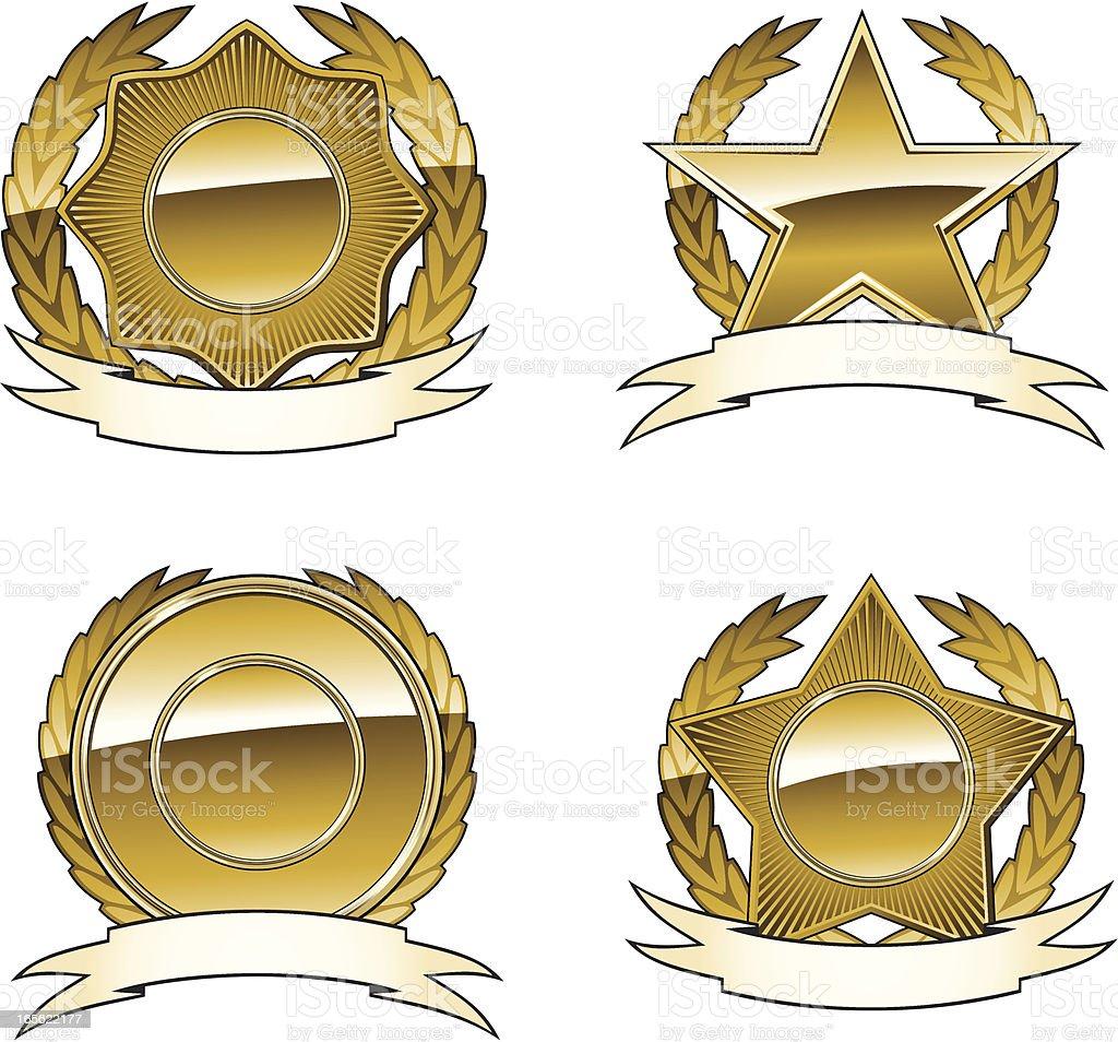 Golden star emblems royalty-free stock vector art