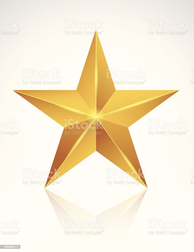 A golden star on a white background vector art illustration