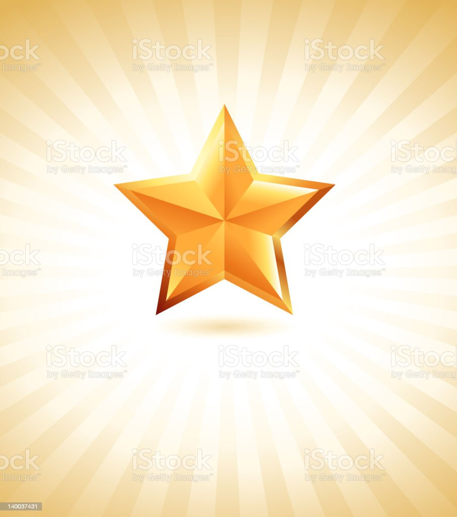 Golden star on royalty free vector Background with glow effect royalty-free stock vector art