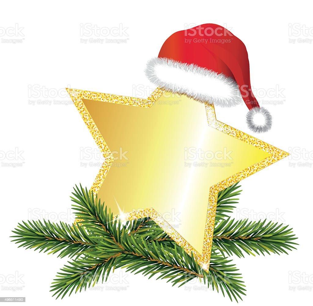 Golden star with Santa cap and fir tree branch vector art illustration
