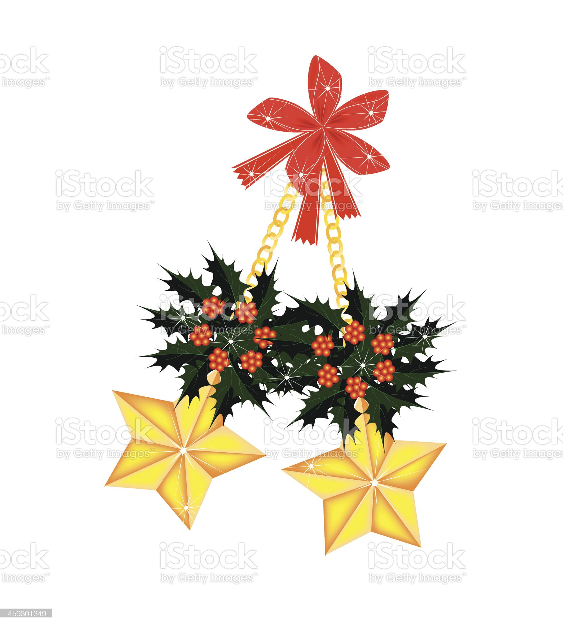 Golden Stars and Christmas Holly with Red Bow royalty-free stock vector art