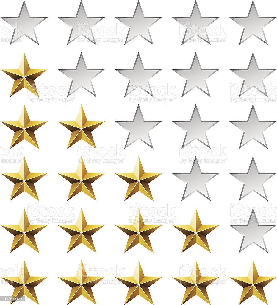 Golden stars rating template royalty-free stock vector art