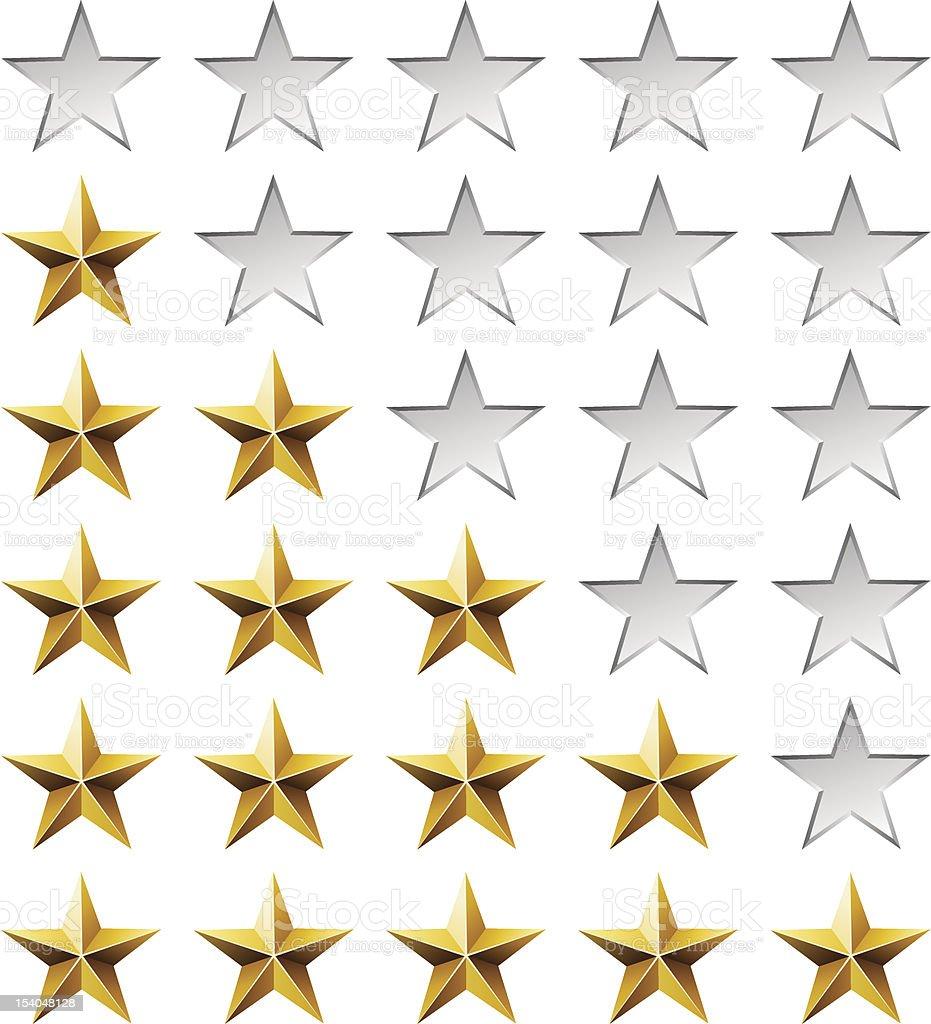 Golden stars rating template vector art illustration