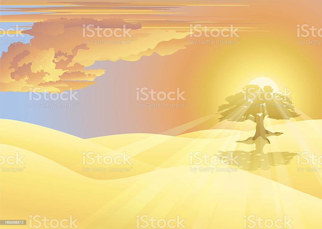 Golden sunrise and tree royalty-free stock vector art