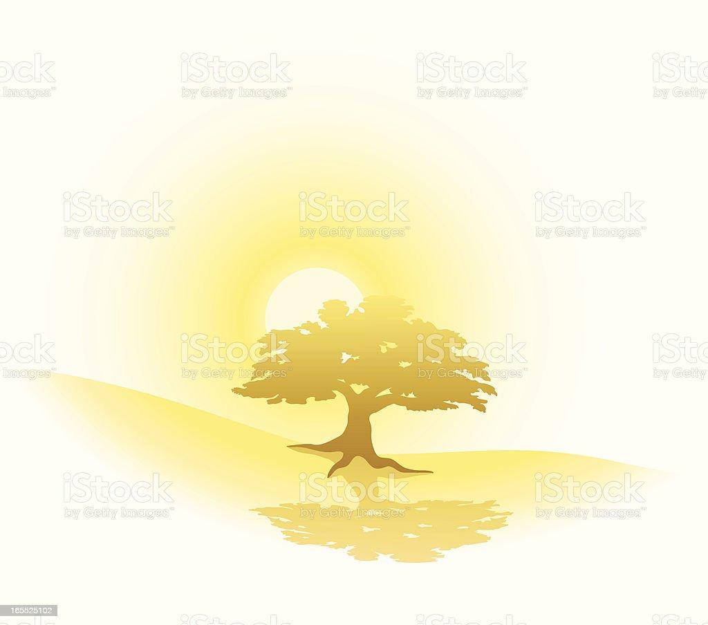 Golden Sunrise & Oak royalty-free stock vector art