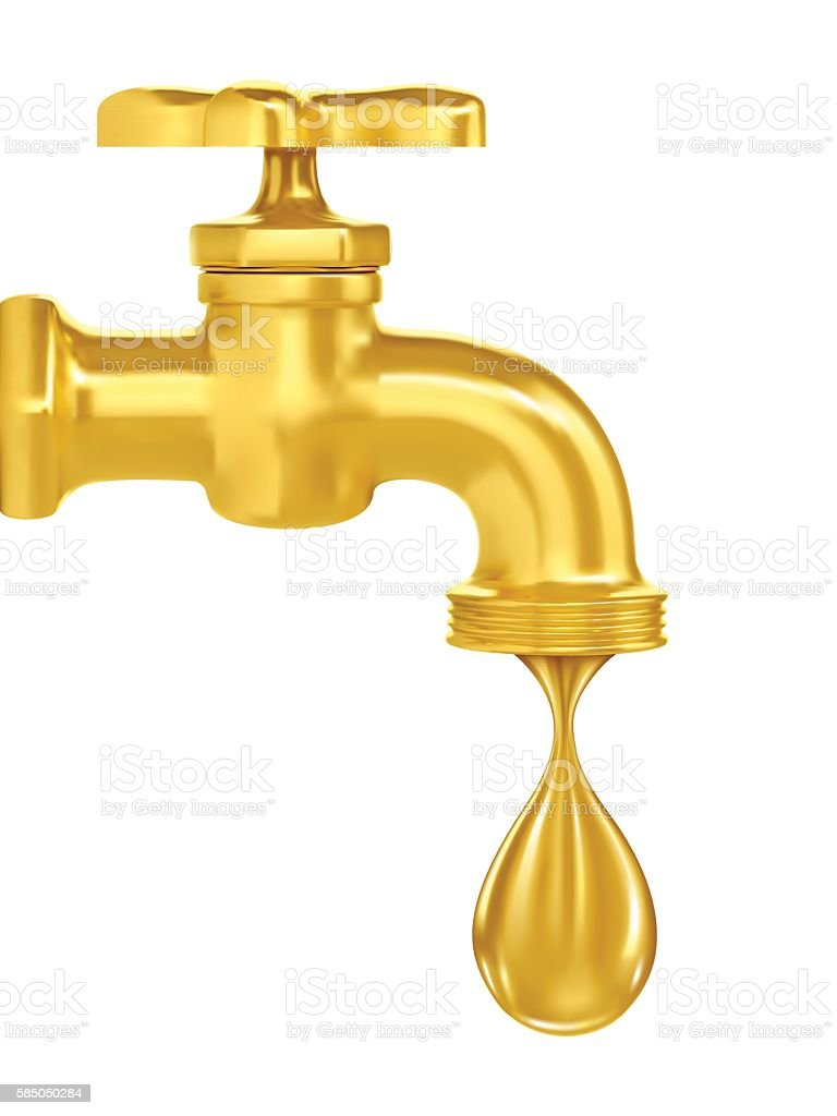 golden tap. a drop of gold flowing from vector art illustration
