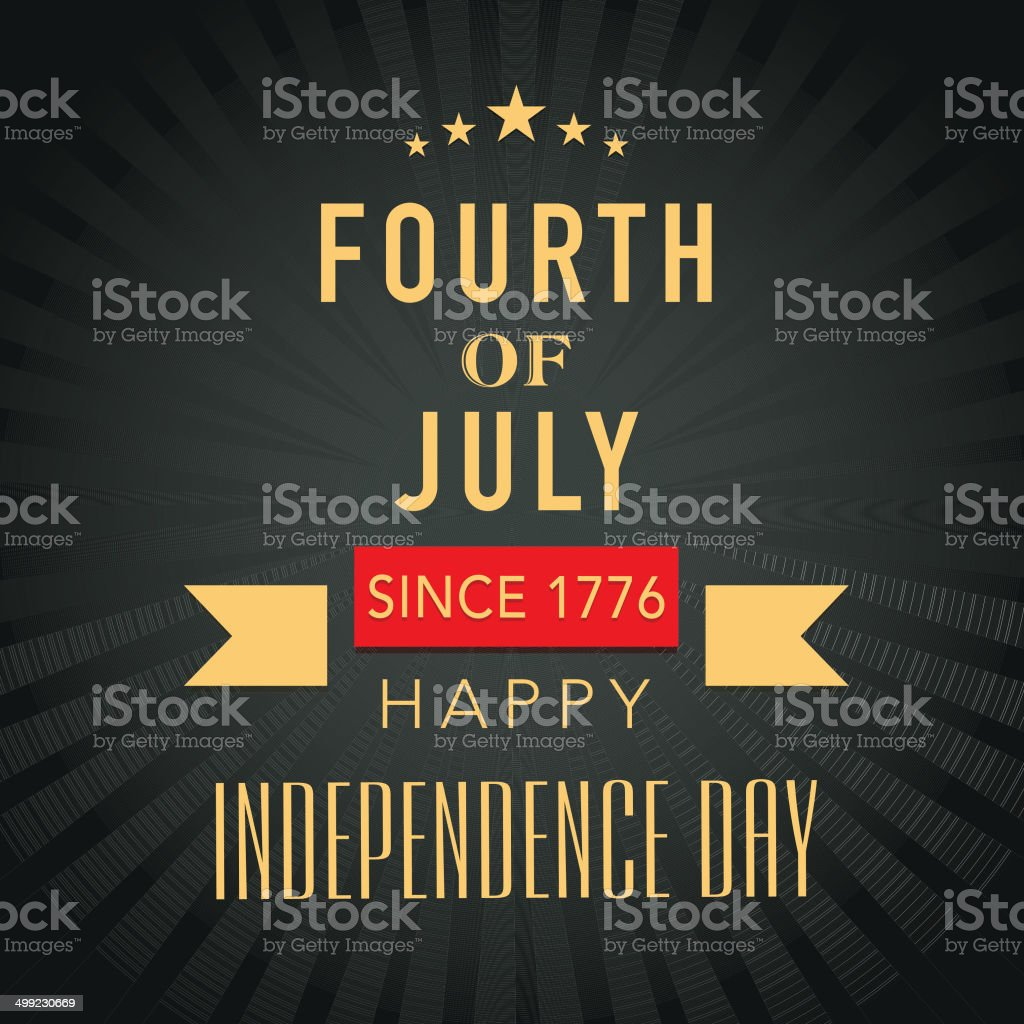 Golden text Fourth of July on rays background vector art illustration