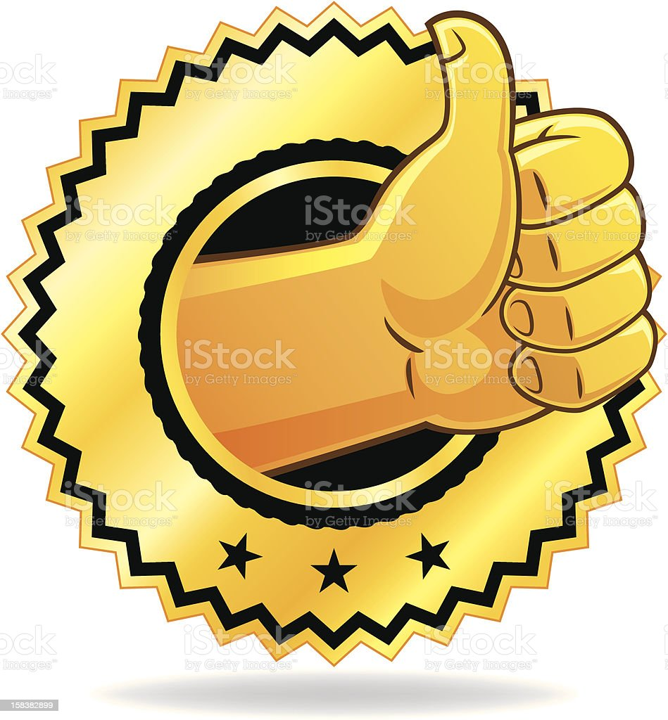 Golden thumbs up icon in a circle with stars royalty-free stock vector art