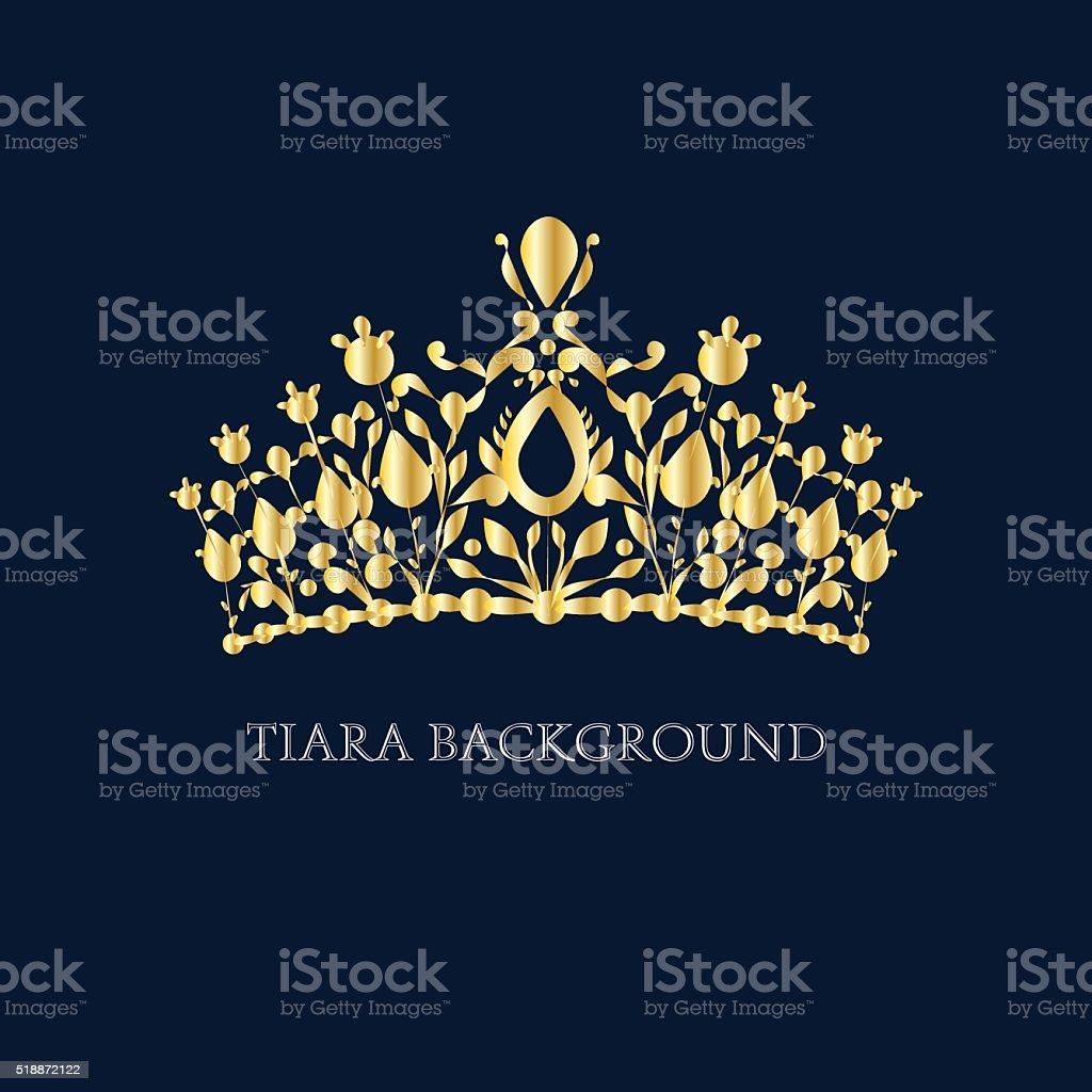 Golden Tiara vector art illustration