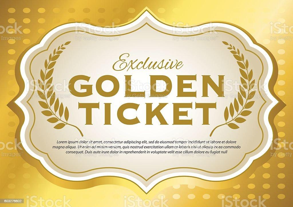 Golden Ticket vector art illustration
