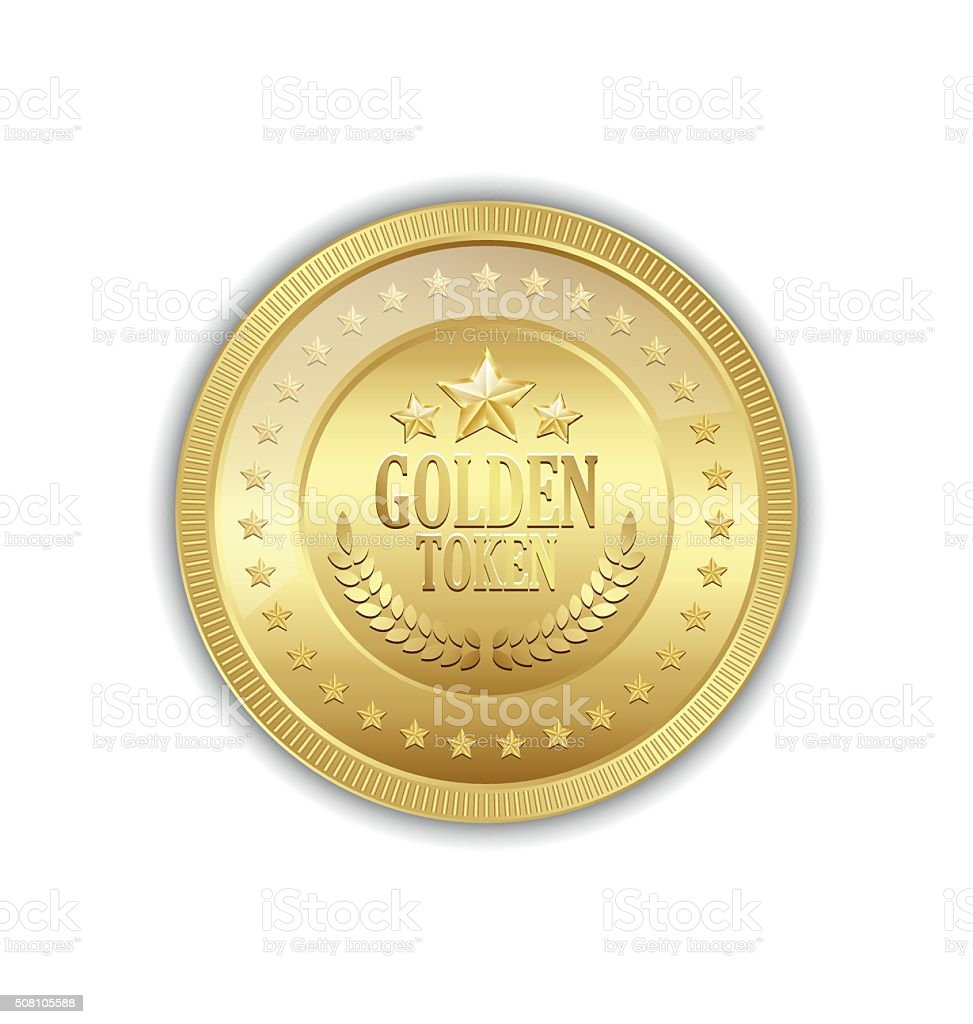 Golden token vector art illustration