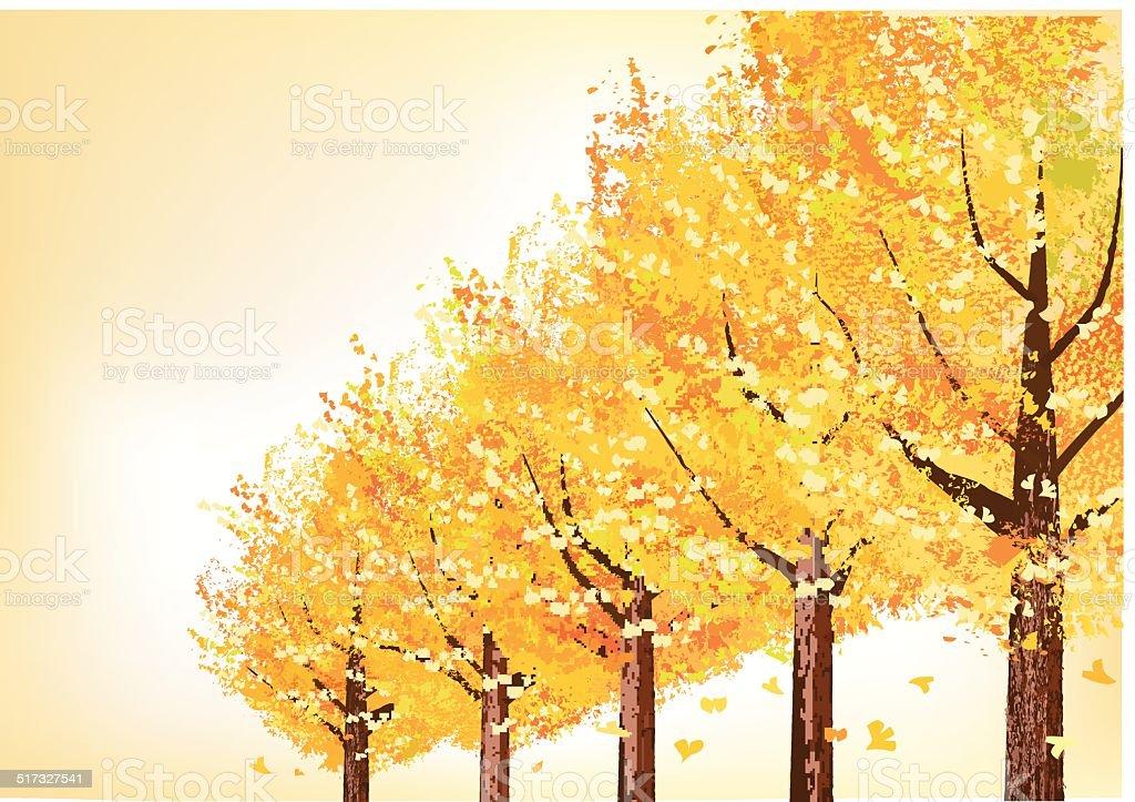 Golden trees in late autumn vector art illustration