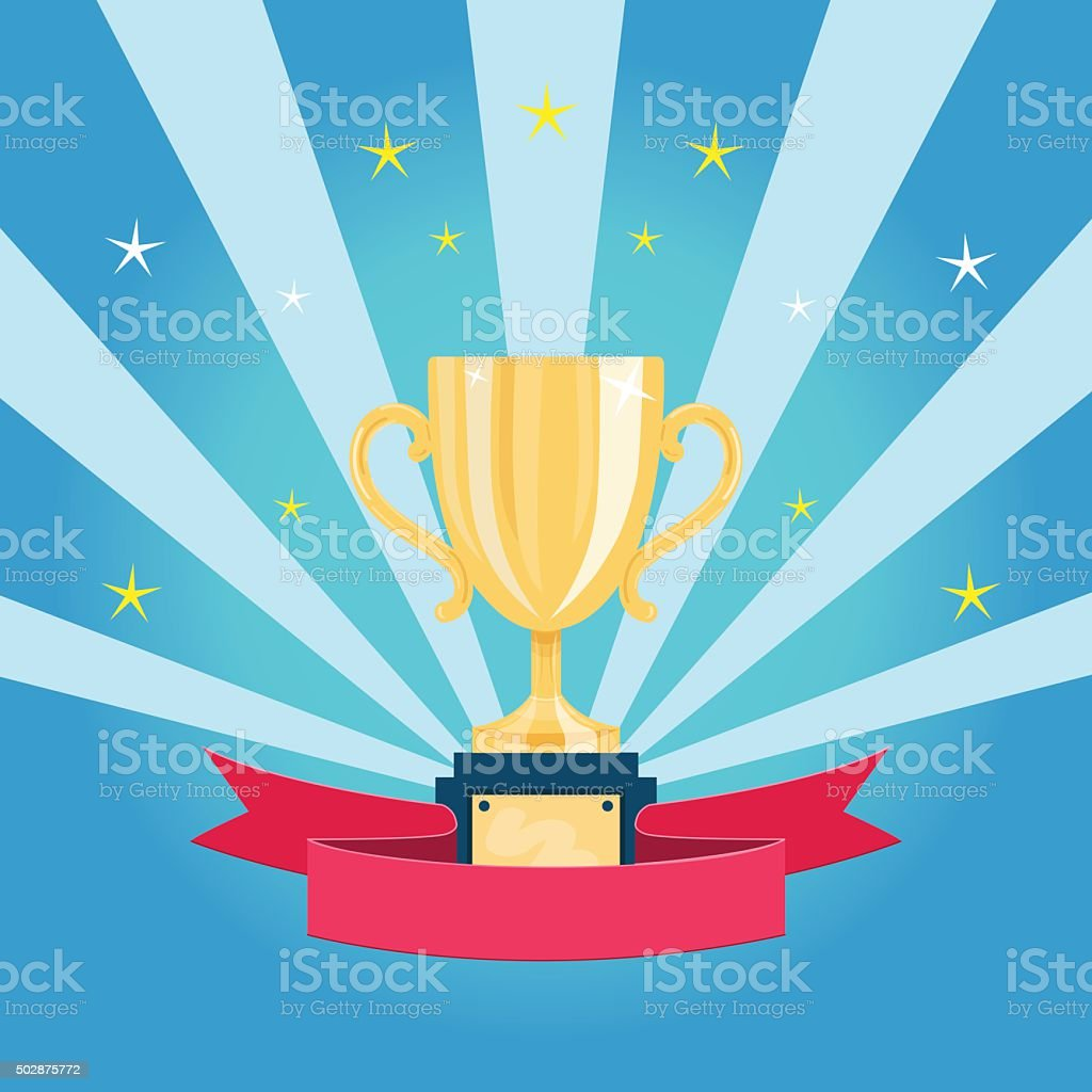 Golden trophy cup vector art illustration