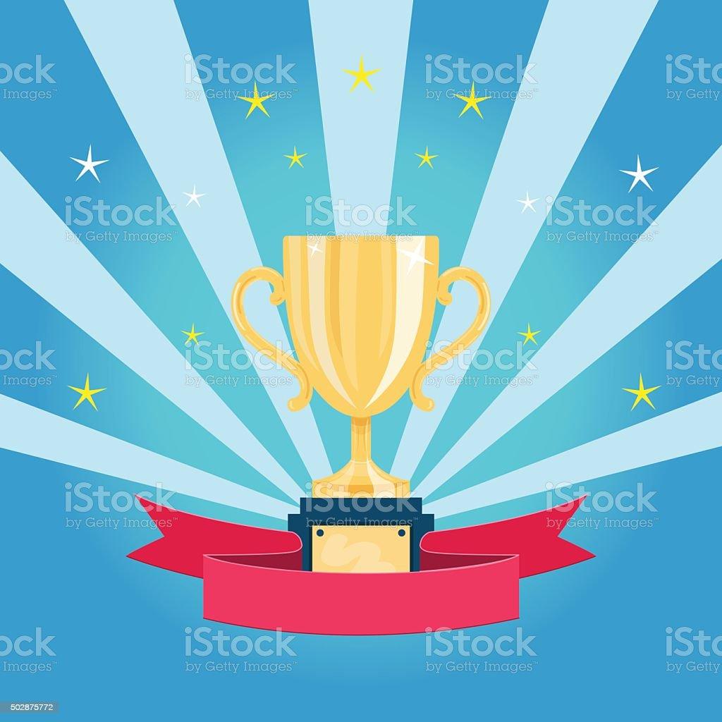 Golden trophy cup vector art illustration