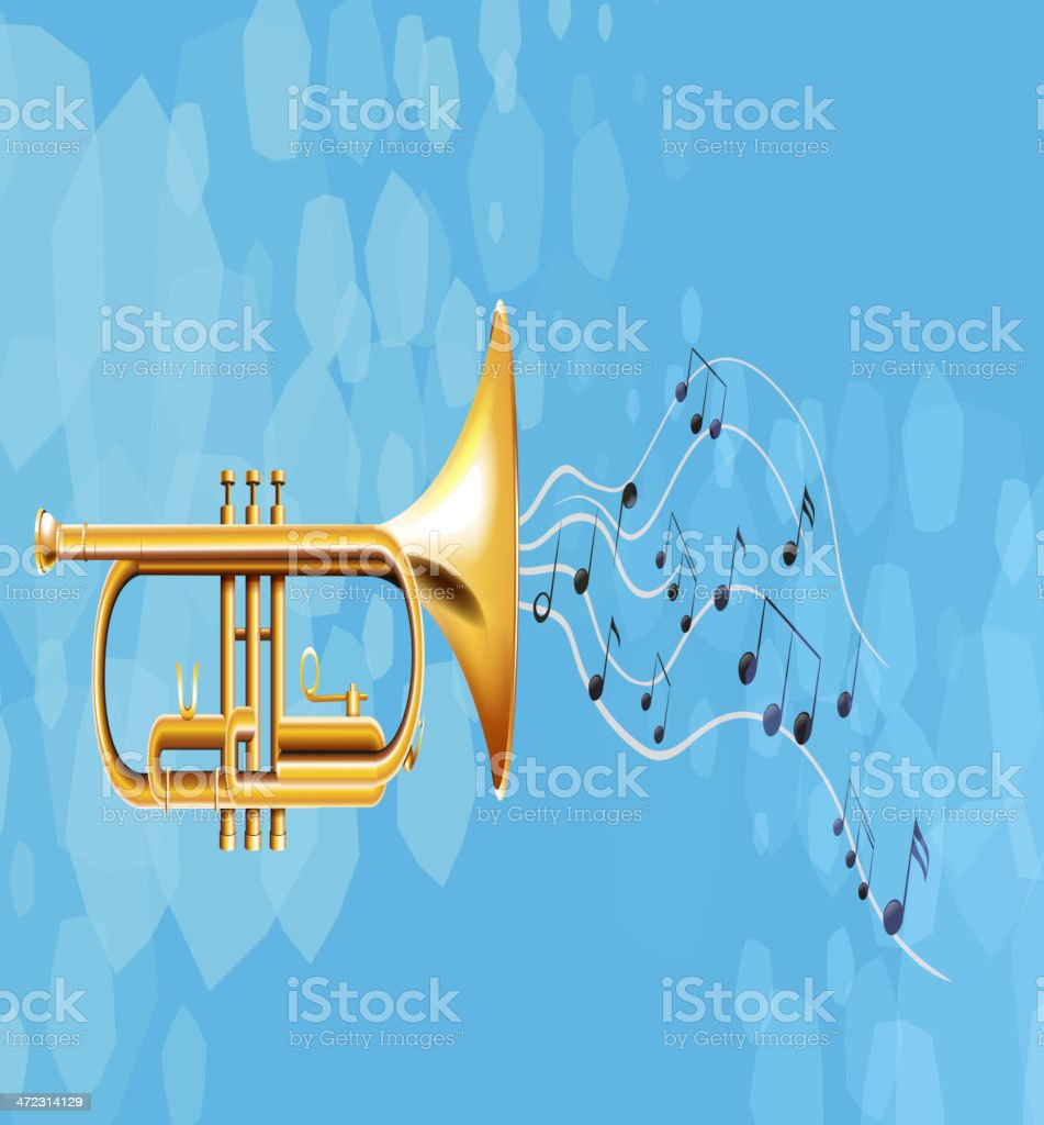 Golden trumpet royalty-free stock vector art