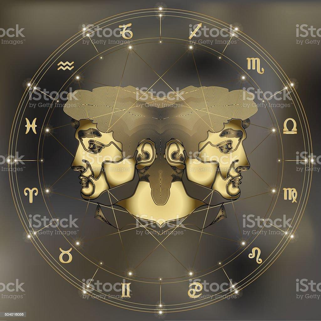 Golden twins portrait, zodiac Gemini sign vector art illustration