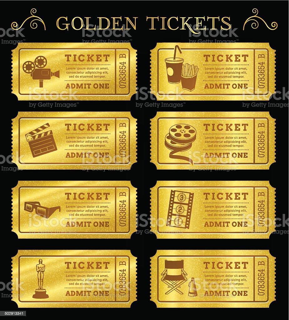 Golden Vector Cinema Tickets vector art illustration