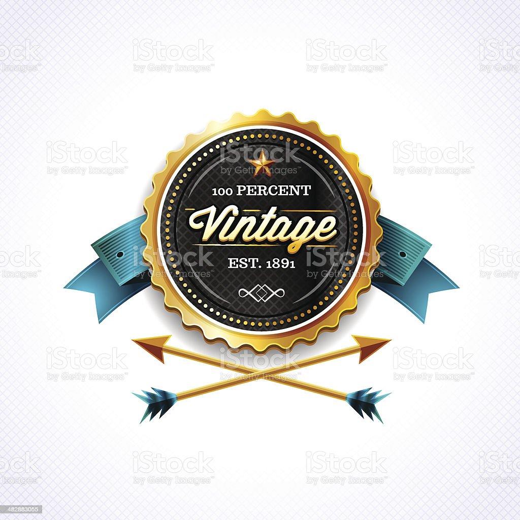 Golden Vintage Badge vector art illustration