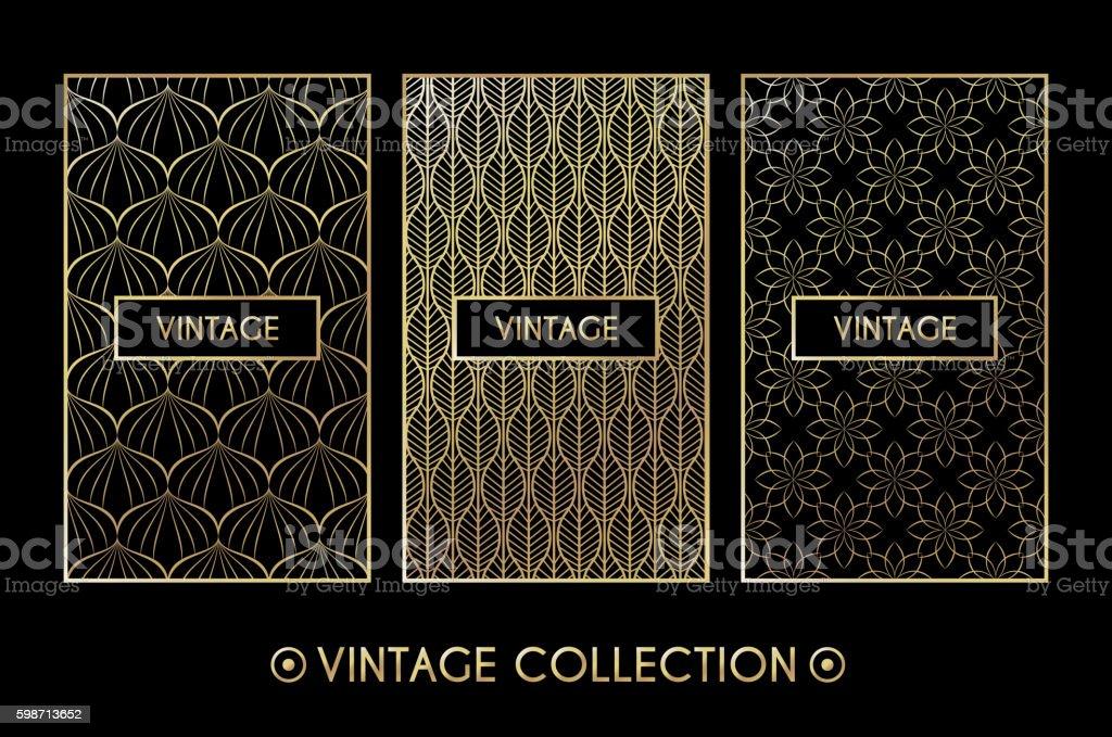Golden vintage pattern on black background vector art illustration