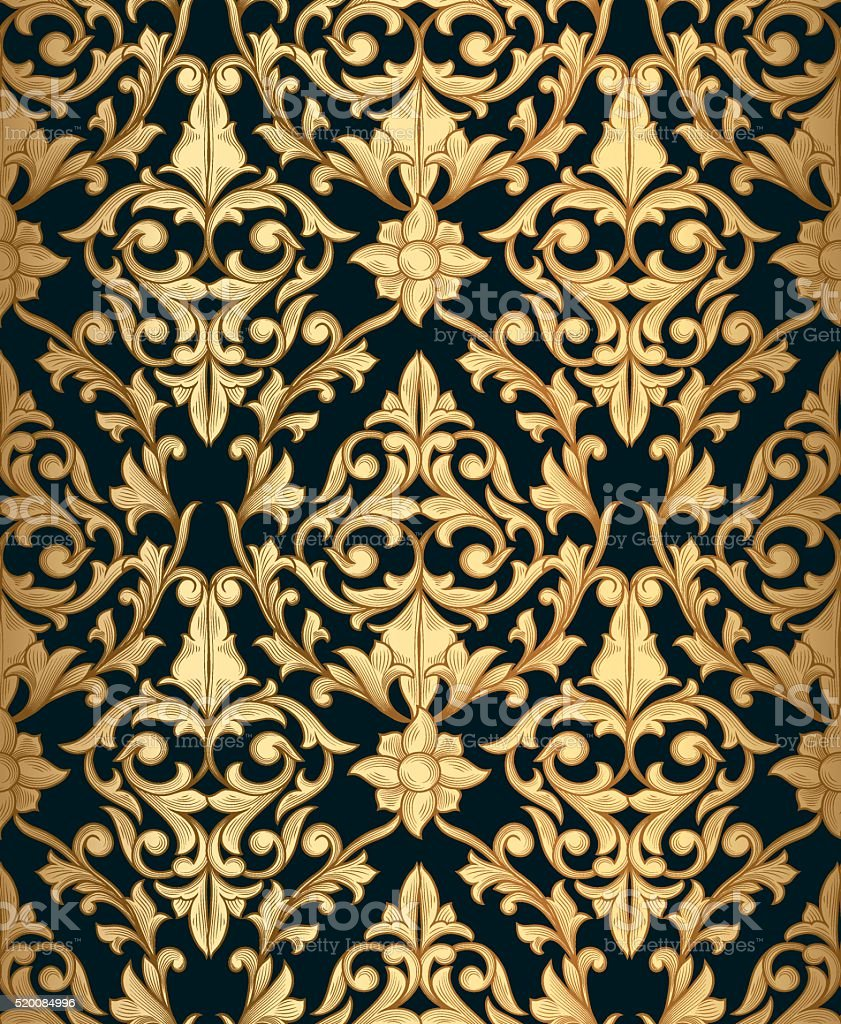 Golden vintage seamless decorative pattern vector art illustration