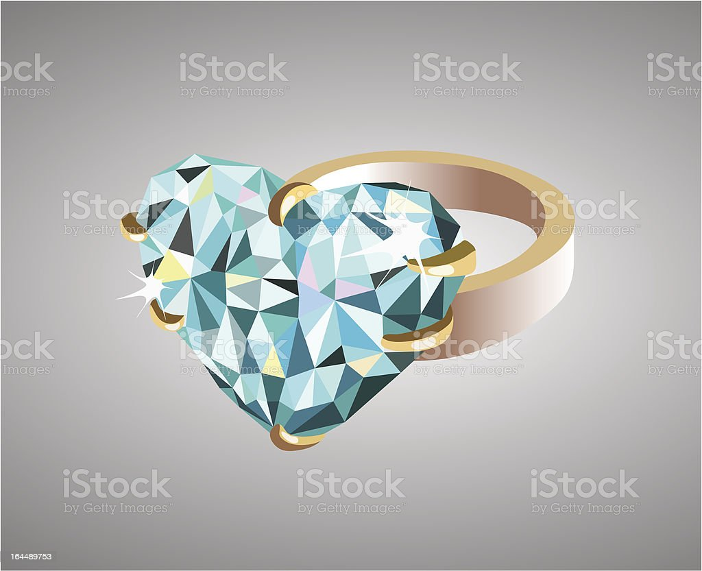 Golden wedding ring adorned with a blue heart-shaped precions stone. royalty-free stock vector art