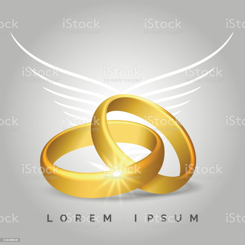 Golden wedding rings with angel wings vector art illustration