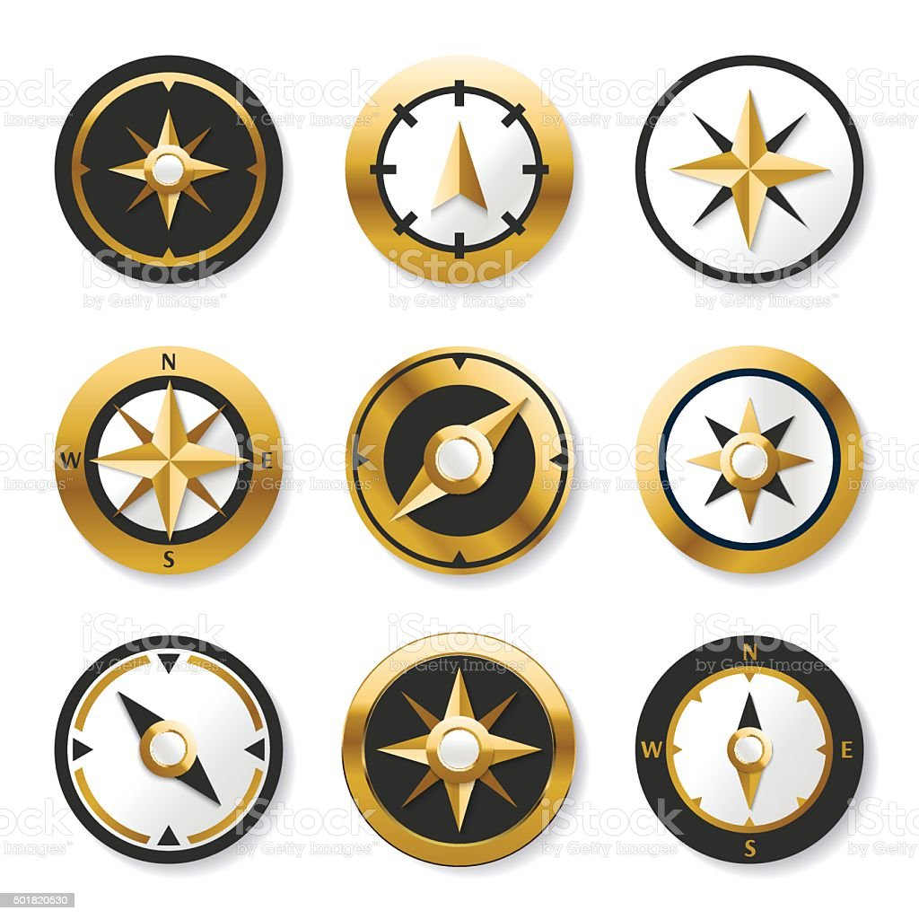 Golden wind rose compasses in set. Isolated vector compass vector art illustration