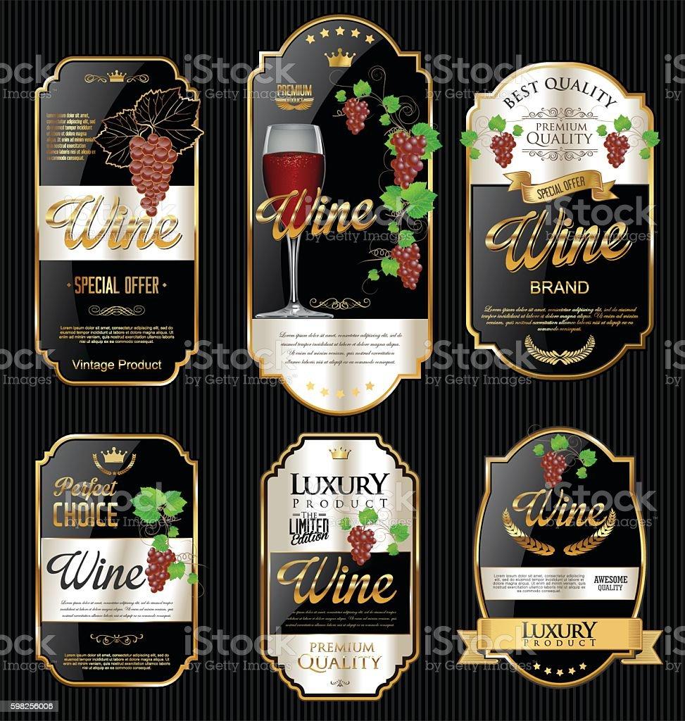 Golden wine labels retro vintage design collection vector art illustration