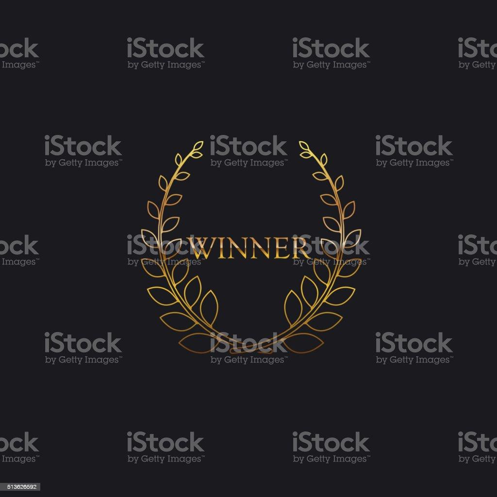 Golden Winner Award Sign vector art illustration