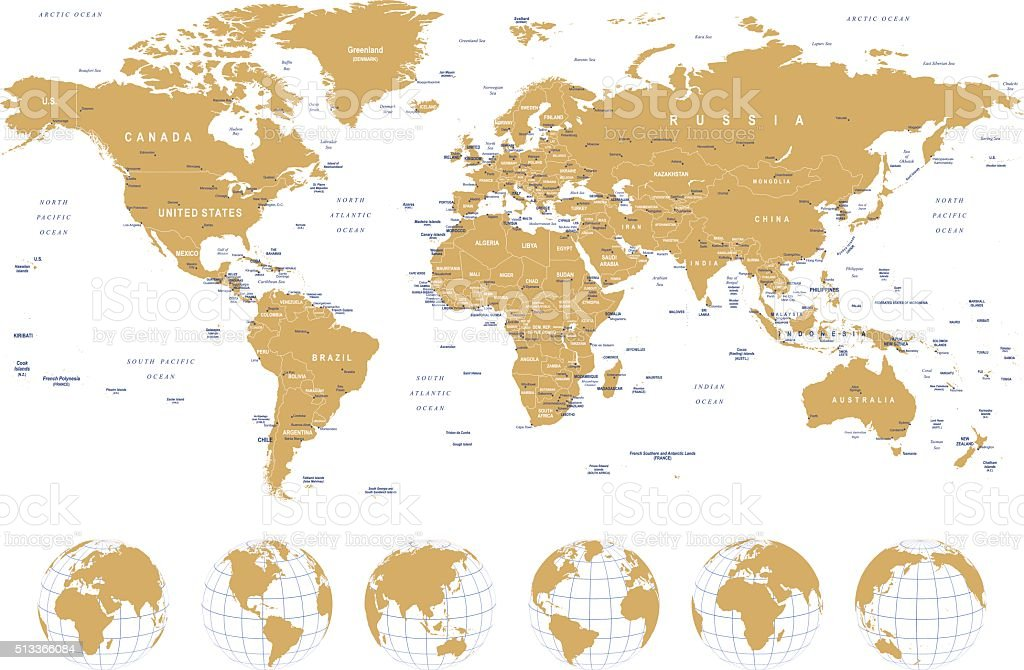 Golden World Map - borders, countries, cities and globes - illustration vector art illustration
