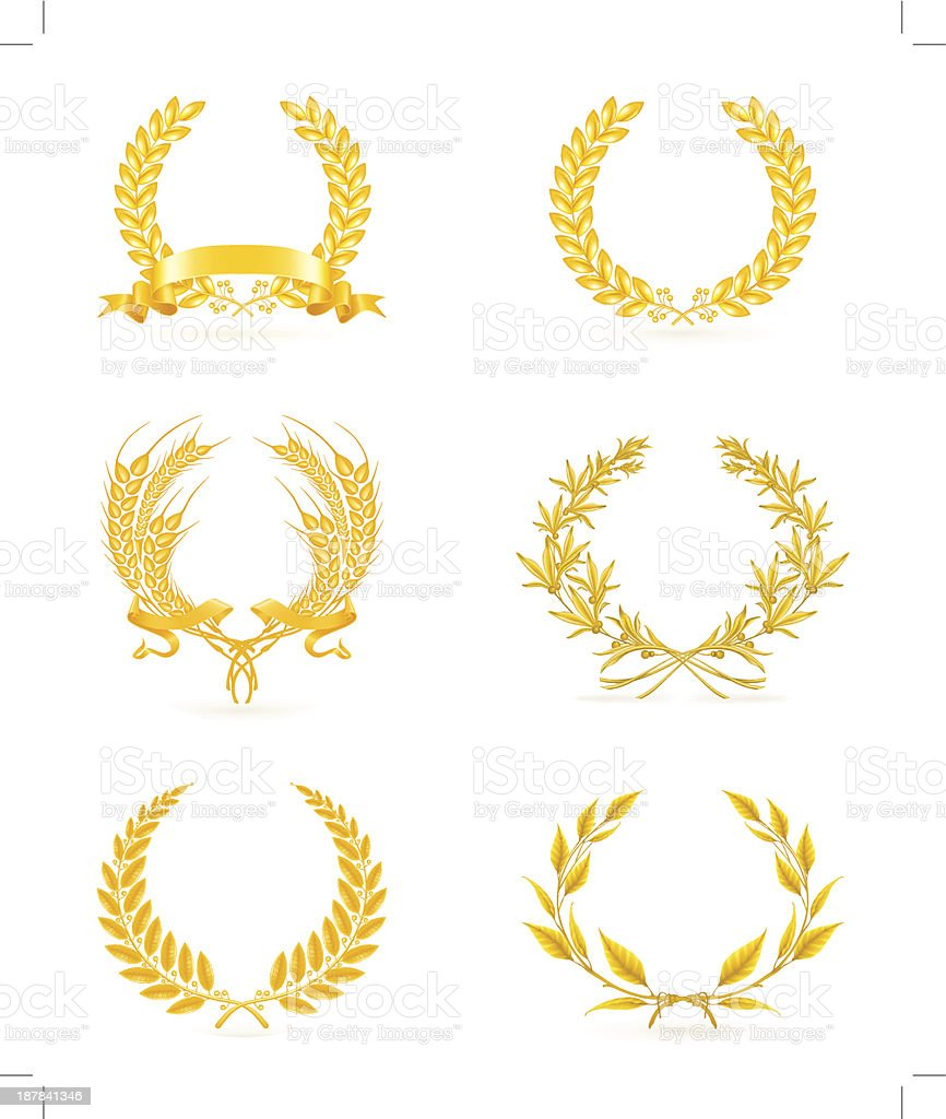 Golden wreath set royalty-free stock vector art
