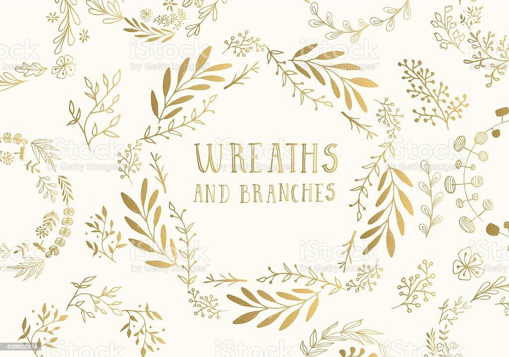 Golden wreaths. vector art illustration