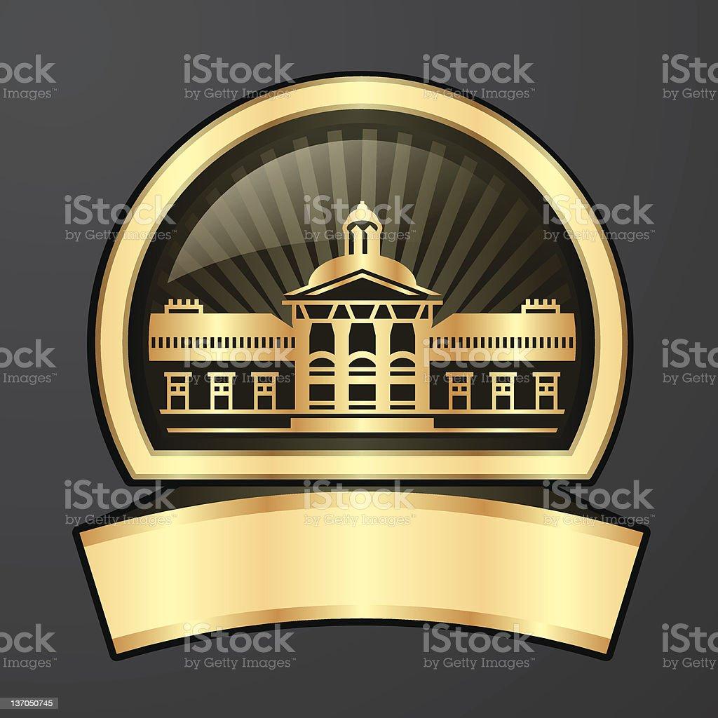 Golden yellow shiny Castle Logo stock photo