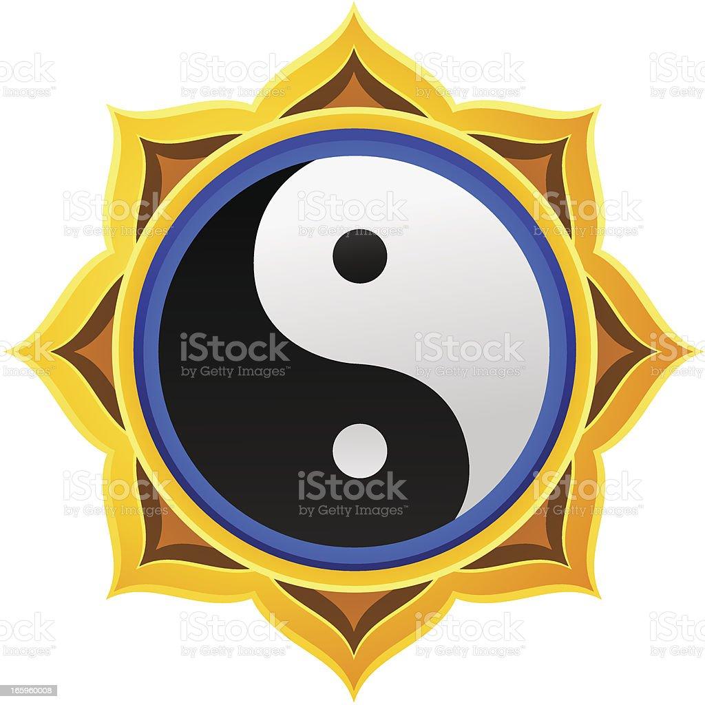 Golden Yin Yang Mandala royalty-free stock vector art